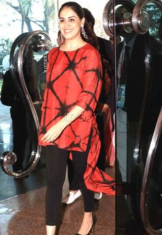 Genelia Deshmukh arrives at the venue for an event in Mumbai. All pics/Yogen Shah Dresses For Pregnant Women, Clothes For Women, Simple Dresses, Casual Dresses, Dress Over Pants, African Dress, African Wear, Churidar Designs, Summer Fashion Outfits