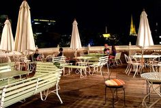"The fabulous ""Madame Brussels"" rooftop bar. Eco Furniture, Outdoor Furniture Sets, Outdoor Tables, Outdoor Decor, Rooftop Bar, Australia Travel, Where To Go, Wine Recipes, Melbourne"
