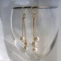 Mod coin pearl earrings freshwater coin pearls by KGarnerDesigns, $20.00