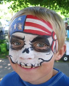 Face Painting Fun by Mary: Happy of July – Makeup Looks Face Painting For Boys, Face Painting Designs, Painting Patterns, Paint Designs, Fourth Of July, Pirate Face, 4th Of July Makeup, Flag Face, Mardi Gras