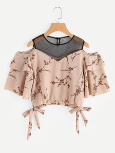 SheIn offers Open Shoulder Ditsy Print Contrast Mesh Tie Hem Top & more to fit your fashionable needs. Girls Fashion Clothes, Teen Fashion Outfits, Cute Fashion, Girl Fashion, Fashion Dresses, Cute Comfy Outfits, Pretty Outfits, Cool Outfits, Fancy Tops