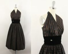 50s dress - 1950s taffeta dress - black and copper party dress - vintage halter dress and cropped jacket