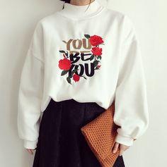 Letter Embroidery Sweatshirt | Oversized Sweater | Loose Sweater ...
