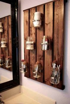 20 Decorative Mason Jar Crafts - Yes Missy! 20 Decorative Mason Jar Crafts - Yes Missy! 20 creative mason jar crafts to decorate your home. Diy Bathroom Storage, Jar Diy, Home Diy, Pallet Diy, Diy Bathroom, Home Projects, Ball Jars, Mason Jar Storage, Home Decor