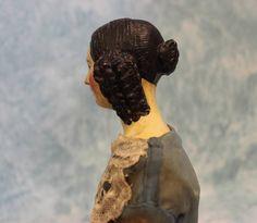 "20"" Antique Paper Mache Doll 1845 1850 Milliners Model Spaniel Ringlet Curls BUN | eBay"