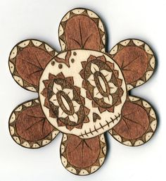 Day of the Dead Style wood burned magnet Skull by ARTholomew