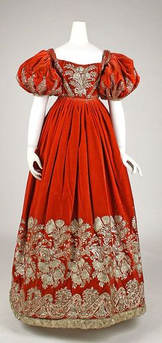 German Haute Couture Dresses | velvet court dress with metallic embroidery ca. 1828, probably German ...