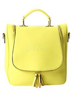 Saco de Tote de forma Vertical amarelo doce Fringe PU couro feminino - Milanoo.com