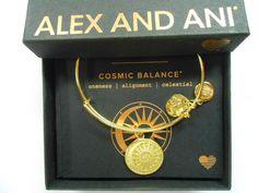 Alex And Ani Cosmic Balance Color Infusion Bangle Bracelet Shiny Gold Nwtbc
