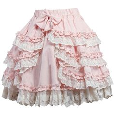 Partiss Women's Sweet Pink Bow Cotton Blend Lolita Skirt (53 CAD) ❤ liked on Polyvore featuring skirts, pink knee length skirt, bow skirt, pink bow skirt and pink skirt