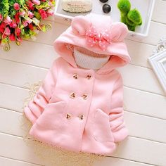Kobay Baby Unisex Romper Newborn Baby Girl Boy Solid Bear Velvet Hooded Jumpsuit Hooded Clothes