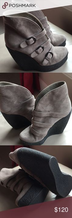 """NWOT Walter Steiger Paris Booties NWOT Suede Taupe booties from Walter Steiger Paris. 5 1/2"""" stacked heel. Gorgeous for fall.Great buckle detail! Walter Steiger Shoes Ankle Boots & Booties"""