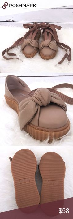 """NWT FENTY PUMA by Rihanna Bow Creeper Sandal NWT Fenty Puma by Rihanna Leather Creeper Sandal  •   COLOR: Natural / Oatmeal •   Soft leather upper •   Gum creeper sole •   Long sneaker laces (30"""" length from toe bed to end of lace) •   Shoebox included •   MSRP: $180 Puma Shoes Sandals"""