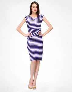Looking for a basic that you'll reach for over and over again? We've got you covered with this knit purple stripe dress, featuring a round neckline and cap sleeves. Rock with this for a class , or for a night out with a statement necklace.