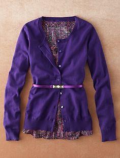Talbots - Pleated Tweed Top w/purple cardigan & belt Purple Cardigan, Work Fashion, Business Casual, Talbots, Tweed, Menswear, Rompers, Plus Size, Clothes For Women