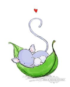 Children's Illustration, Mom Mouse and Baby Mouse