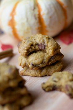 Chewy Pumpkin Chocolate Chip Cookies | Sequins and Stripes