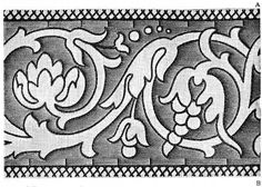 FIG. 216. BORDER, OUTLINED BY THE GROUNDING WORKED IN GOBELIN AND STEM STITCH. First part.