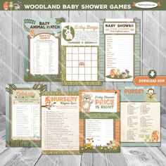 Woodland Baby Shower Games, Woodland Baby Shower, Baby Bingo, Price is Right…
