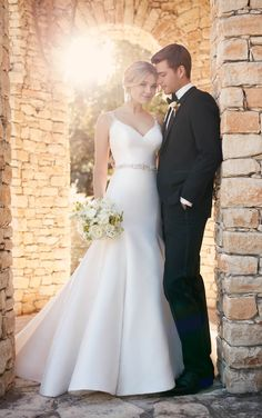 Fit and flare wedding dress with keyhole back