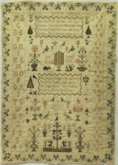 EARLY-19TH-CENTURY-SILK-WORK-SAMPLER-BY-ANN-EYRE-AGED-TEN-c-1840 As You Like, Give It To Me, Cross Stitch Samplers, My Favorite Image, Vintage Embroidery, Sewing Notions, Old And New, 19th Century, Primitive