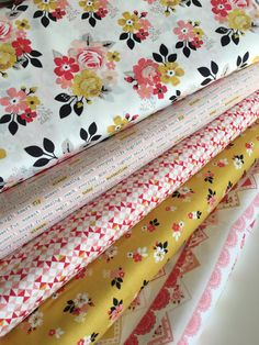 Vintage Daydream fabric bundle by Riley Blake, Party Flags, Bunting, Floral fabric, Bundle of 5- You Choose the Cut, Free Shipping Available by FabricShoppe on Etsy