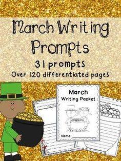 March Writing Prompts on Themed Paper Differentiated Pages! Writing Games, Daily Writing Prompts, Writing Lessons, Teaching Writing, Writing Activities, Writing Resources, Holiday Activities, 2nd Grade Activities, March Themes
