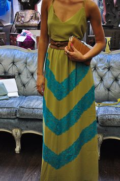 Judith March green maxi, with brown Diana Warner belt, and Hobo clutch. Call store to order yours today. (212) 432 3969