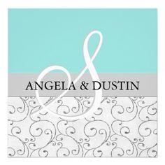 Silver Swirls & Tiffany Blue Wedding Invitations
