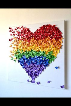 Butterfly heart on canvas
