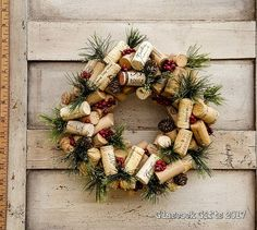 Items similar to Small Christmas Wine Cork Accent Wreath - 4 Choices on Etsy Wine Craft, Wine Cork Crafts, Wine Bottle Crafts, Wine Cork Projects, Wine Cork Wreath, Wine Cork Ornaments, Wine Cork Art, Wine Corks, Christmas Wine