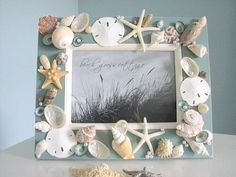 When I going to the beach, except step on the waves and beach, I always like to scrambling to collect sea shells and carry them home. Sea shells come in be Seashell Picture Frames, Seashell Frame, Beach Frame, Seashell Art, Seashell Crafts, Seashell Projects, Diy Projects, Deco Marine, Shell Decorations