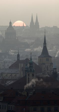 Misty morning over Old and New Town (St.Giles church, National Museum and St. Travel Pose, Travel Photos, Prague Czech Republic, Travel Memories, Aesthetic Backgrounds, Urban Landscape, National Museum, Beautiful Landscapes, Paris Skyline