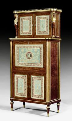 "IMPORTANT SECRETAIRE WITH ""VERRE EGLOMISE"",   Louis XVI, attributed to B. MOLITOR (Bernard Molitor, maitre 1787), the glass painting signed and inscribed DEGAULT PINXIT, Paris circa 1790."