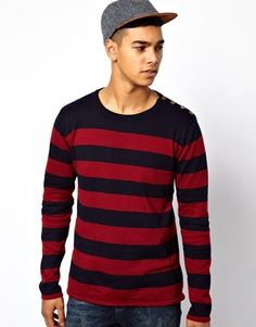 Solid Stripe Knit With Button Neck