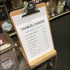 This Yankee Candle Clipboard Pricelist at Hallmark shows one way to deal with merchandising a number of similar offerings. Retail Fixtures, Store Fixtures, Candle Store, Clipboard, Fragrance, Jar, Candles, Design, Candle Shop
