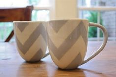 Chevron mugs - i need one and you need one laura and then itll be like drinking coffee together but apart!!