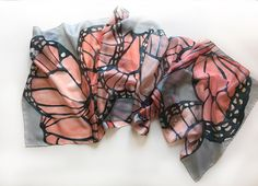 Hand painted silk scarf- Coral Butterfly/ Butterfly Wings  scarf/ Coral blue grey shawl/ Woman accessories/ Art to wear/ Lightweight scarf by klaradar on Etsy https://www.etsy.com/au/listing/122747081/hand-painted-silk-scarf-coral-butterfly