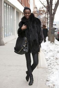 Women's Black Fur Coat, Black Leather Leggings, Black Leather Ankle Boots, Black Leather Tote Bag