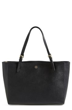 TORY BURCH 'york' Buckle BLACK Tote Bag Tory Burch, Handbags On Sale, Luxury Handbags, Black Leather Tote Bag, Work Tote, Fall Scarves, Classic Handbags, Girls Wardrobe, Mall