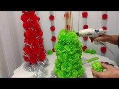 Aula 44 - Como fazer uma árvore de Natal com flores de papel crepon (Artesanato) - YouTube