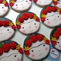 Cookieria By Margaret: Frida Kahlo Baby. Easter Cupcakes, Cute Cupcakes, Wedding Cupcakes, Fancy Cookies, Cupcake Cookies, Sugar Cookies, Marshmallow Flowers, Cupcake Frosting Recipes, Big Cakes