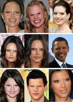People ask me all the time why I think eyebrows are so important... I rest my case lol  celebrities without eyebrows... they really do make a big difference. how creepy