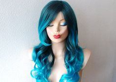 Teal blue /Turquoise Ombre wig. Long curly hair long by kekeshop