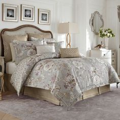 Croscill® Victoria Reversible Comforter Set in Grey - BedBathandBeyond.com