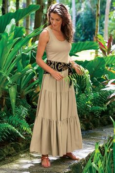 Slimming Maxi Dress - Tiered Maxi Dress, Long Tank Dress | Soft Surroundings