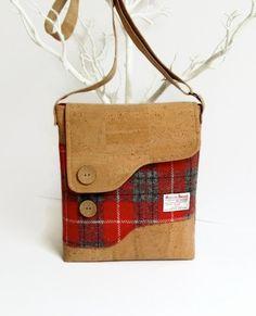 853948633721 Cork and Red Harris Tweed Messenger Bag Shoulder Bag Eco Cork Fabric