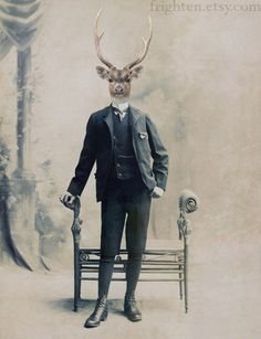 A little disconcerting, but charming in the end. Deer Art Print Deer Boy Altered Victorian Portrait by frighten, $25.00