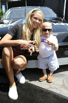 Playmate Jessa Hinton and Verne Troyer at Celebrity Go-Kart Tournament