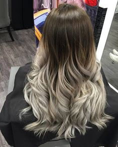 Trendy Hair Color : 40 Glamorous Ash Blonde and Silver Ombre Hairstyles White Ombre Hair, Silver Ombre Hair, Ombre Hair Color, Brown To Grey Ombre, Ash Ombre, Silver Ash, Deep Brown, Gray Hair, Grey Balayage